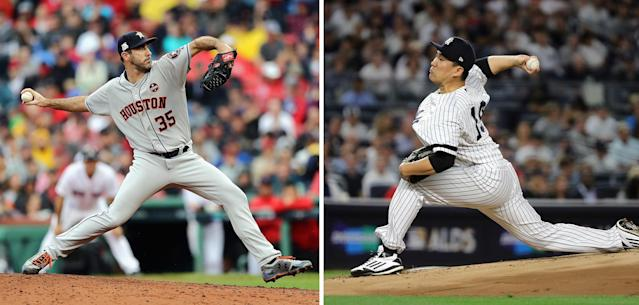 "Justin Verlander pitches Game 2 for the Astros and <a class=""link rapid-noclick-resp"" href=""/mlb/players/9642/"" data-ylk=""slk:Masahiro Tanaka"">Masahiro Tanaka</a> goes in Game 1 for the Yankees. (Getty Images)"