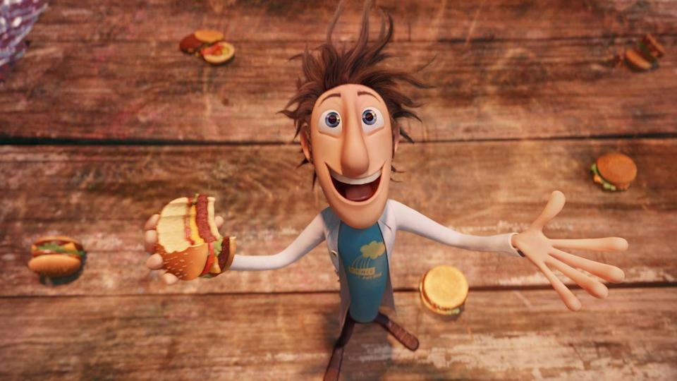"""<p>Based on <a href=""""https://www.amazon.com/Cloudy-Chance-Meatballs-Judi-Barrett/dp/0689707495?tag=syn-yahoo-20&ascsubtag=%5Bartid%7C10055.g.23406794%5Bsrc%7Cyahoo-us"""" rel=""""nofollow noopener"""" target=""""_blank"""" data-ylk=""""slk:the beloved picture book"""" class=""""link rapid-noclick-resp"""">the beloved picture book</a> but a whole lot zanier, this movie heads to the land of Chewandswallow, where a young inventor makes a machine that can generate food. What can go wrong?</p><p><a class=""""link rapid-noclick-resp"""" href=""""https://www.netflix.com/title/70113007"""" rel=""""nofollow noopener"""" target=""""_blank"""" data-ylk=""""slk:STREAM NOW"""">STREAM NOW</a></p>"""