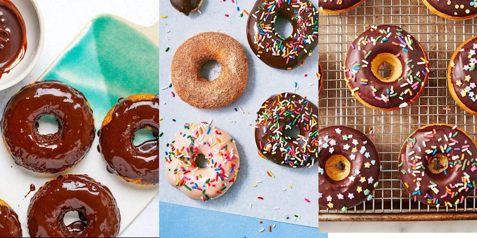 """<p>It doesn't get any better than a homemade, fluffy, sugar-coated donut. Especially if there's a bunch of add-ins. We're talking everything from <a href=""""https://www.delish.com/uk/cooking/recipes/a33430243/baked-donuts-recipe/"""" rel=""""nofollow noopener"""" target=""""_blank"""" data-ylk=""""slk:Classic Baked Donuts"""" class=""""link rapid-noclick-resp"""">Classic Baked Donuts</a> to <a href=""""https://www.delish.com/uk/cooking/recipes/a34050952/vegan-donuts/"""" rel=""""nofollow noopener"""" target=""""_blank"""" data-ylk=""""slk:Cinnamon Sugar Vegan Donuts"""" class=""""link rapid-noclick-resp"""">Cinnamon Sugar Vegan Donuts</a> (vegan? yes way). We've even got <a href=""""https://www.delish.com/uk/cooking/recipes/a35137131/best-keto-donuts-recipe/"""" rel=""""nofollow noopener"""" target=""""_blank"""" data-ylk=""""slk:Keto Cake Donuts"""" class=""""link rapid-noclick-resp"""">Keto Cake Donuts</a> that are finished with a smooth <a href=""""https://www.delish.com/uk/cooking/recipes/a36227205/school-dinner-cake-recipe/"""" rel=""""nofollow noopener"""" target=""""_blank"""" data-ylk=""""slk:chocolate glaze"""" class=""""link rapid-noclick-resp"""">chocolate glaze</a>. Craving a homemade donut? Check out some of our all-time favourite recipes now, you're bound to love them! </p><p>We've even thrown in some hybrid donut recipes, like <a href=""""https://www.delish.com/uk/cooking/recipes/a31332388/jelly-donut-french-toast-recipe/"""" rel=""""nofollow noopener"""" target=""""_blank"""" data-ylk=""""slk:Jam Doughnut French Toast"""" class=""""link rapid-noclick-resp"""">Jam Doughnut French Toast</a> and <a href=""""https://www.delish.com/uk/cooking/recipes/a32470646/blueberry-glazed-donut-muffins-recipe/"""" rel=""""nofollow noopener"""" target=""""_blank"""" data-ylk=""""slk:Blueberry Glazed Donut Muffins"""" class=""""link rapid-noclick-resp"""">Blueberry Glazed Donut Muffins</a>. </p><p>If you consider yourself more of a <a href=""""https://www.delish.com/uk/cooking/recipes/a28867437/lemon-drizzle-cake/"""" rel=""""nofollow noopener"""" target=""""_blank"""" data-ylk=""""slk:cake"""" class=""""link rapid-noclick-resp"""">cake</a>-lover, then check out our top-not"""