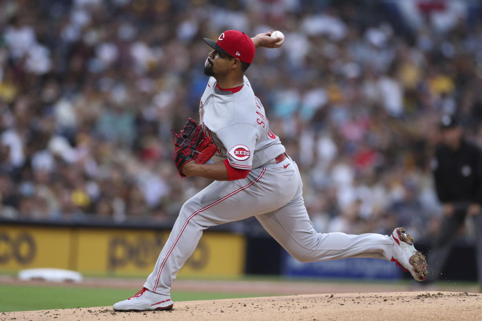 Cincinnati Reds starting pitcher Tony Santillan throws to a San Diego Padres batter during the first inning of a baseball game Friday, June 18, 2021, in San Diego. (AP Photo/Derrick Tuskan)