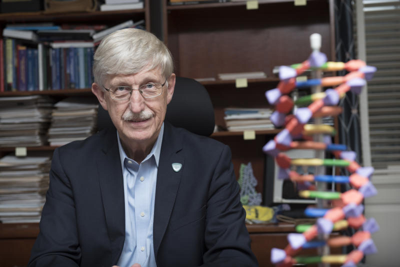 National Institutes of Health (NIH) Director Francis Collins poses for a portrait after his interview with The Associated Press at the NIH headquarters in Bethesda, Md., Friday, July 28, 2017. (AP Photo/Sait Serkan Gurbuz)