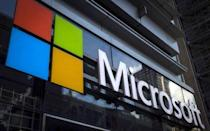 A Microsoft logo is seen on an office building in New York City in this July 28, 2015 file photo. REUTERS/Mike Segar/Files