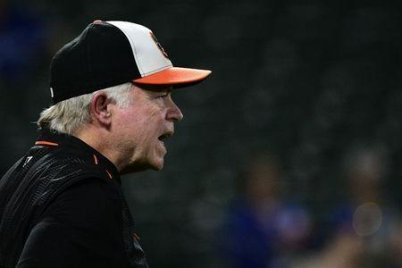 FILE PHOTO: Sep 17, 2018; Baltimore, MD, USA; Baltimore Orioles manager Buck Showalter (26) calls for the umpire during the third inning against the Toronto Blue Jays at Oriole Park at Camden Yards. Mandatory Credit: Tommy Gilligan-USA TODAY Sports/File Photo