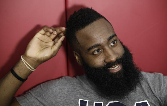 "<a class=""link rapid-noclick-resp"" href=""/nba/teams/hou"" data-ylk=""slk:Houston Rockets"">Houston Rockets</a> star and reigning NBA MVP James Harden participated in USA Basketball training camp last month. (AP)"