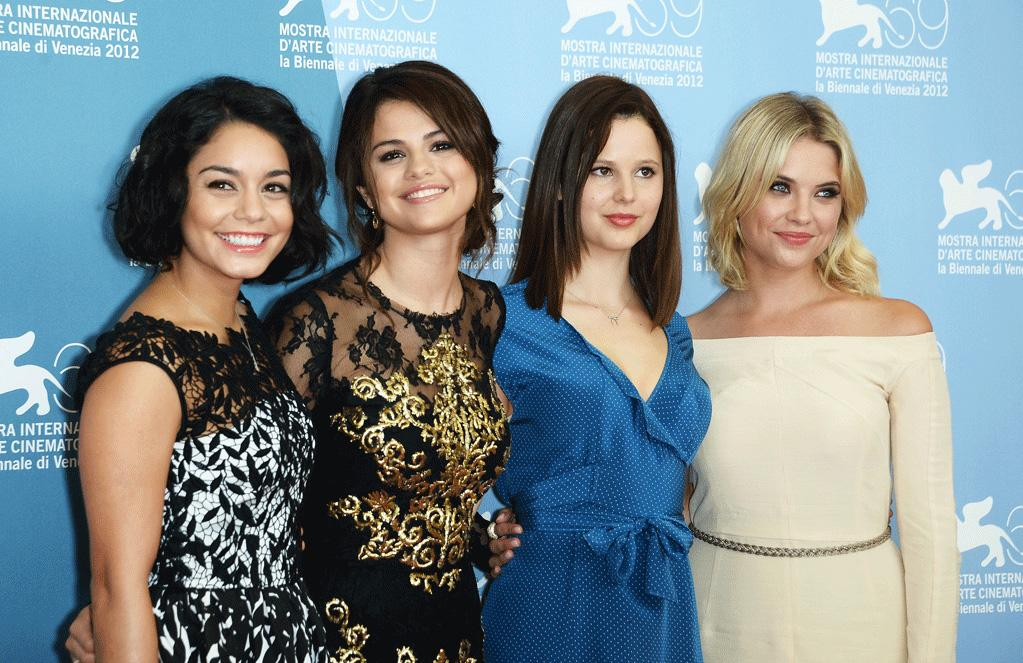 "Vanessa Hudgens, Selena Gomez, Rachel Korine and Ashley Benson attend the 69th Annual Venice Film Festival photocall for ""Spring Breakers"" on September 5, 2012."