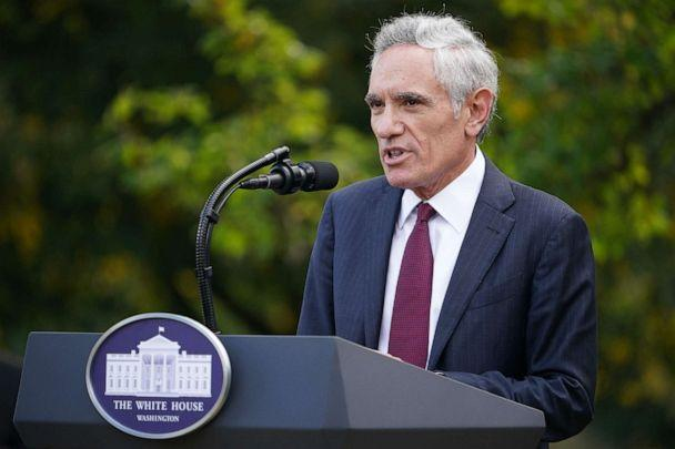 PHOTO: White House coronavirus adviser Dr. Scott Atlas speaks on Covid-19 testing in the Rose Garden of the White House in Washington, DC, Sept. 28, 2020. (Mandel Ngan/AFP via Getty Images, FILE)