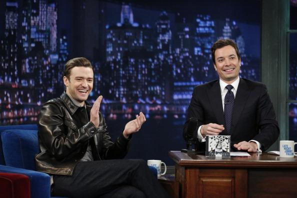 Justin Timberlake with host Jimmy Fallon during an interview on March 11, 2013