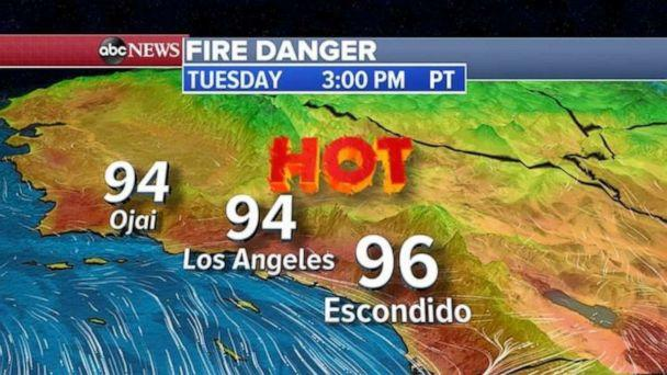 PHOTO: Today, the big story will be the heat in southern California with highs in the mid 90's in L.A. and near 90 in San Diego. (ABC News)