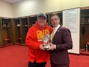 <p>Like Rudd, Eric Stonestreet was also on hand to celebrate during the 2020 AFC Championship game at Arrowhead Stadium. He joined the team in the locker room after the game.</p>