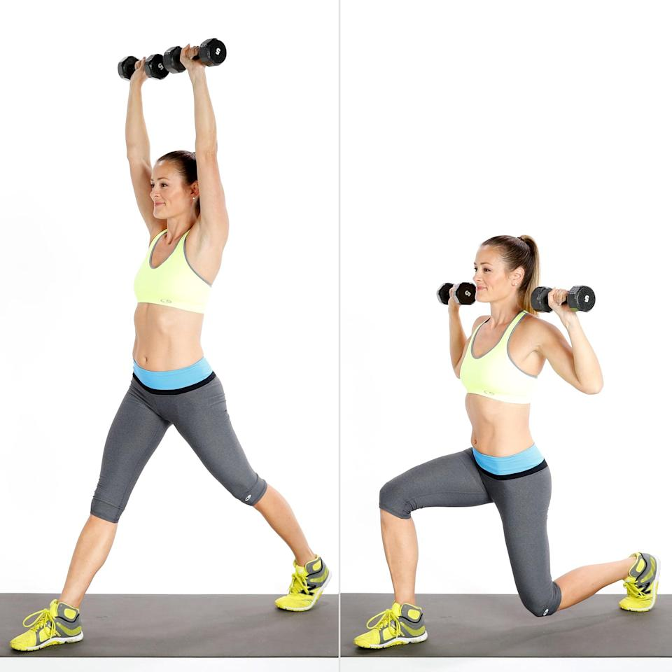 <ul> <li>Holding two weights at your shoulders with your palms facing out, step backward about three feet with your left foot. Press the weights up to the ceiling.</li> <li>Lower the weight to your shoulders as you bend your knees, making 90-degree angles with both legs. </li> <li>Straighten both legs as you press the weights back toward the ceiling.</li> <li>This completes one rep. </li> </ul>
