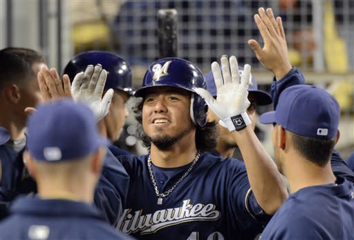 Milwaukee Brewers' Yovani Gallardo is congratulated by teammates after scoring on a single by Norichika Aoki during the sixth inning of their baseball game against the Los Angeles Dodgers, Wednesday, May 30, 2012, in Los Angeles. (AP Photo/Mark J. Terrill)