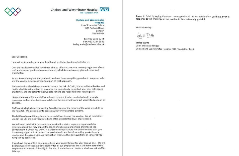 The leaked letter written by the Chelsea and Westminster Foundation Trust and shared with other NHS bosses