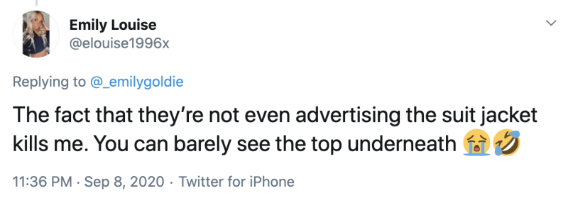 Twitter users were baffled that the model was barely showing off the top that they were meant to be advertising. Photo: Twitter