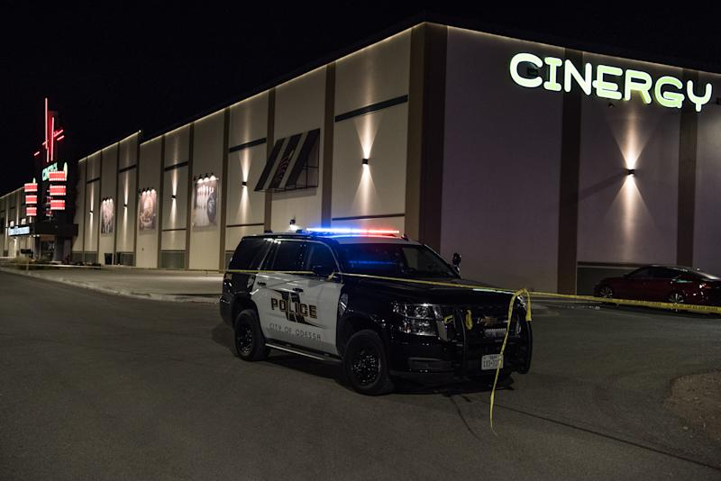 Police cars and tape block off a crime scene nearby to where a gunman was shot and killed at Cinergy Odessa movie theater after multiple people were shot on August 31, 2019 in Odessa, Texas. (Photo: Cengiz Yar/Getty Images)