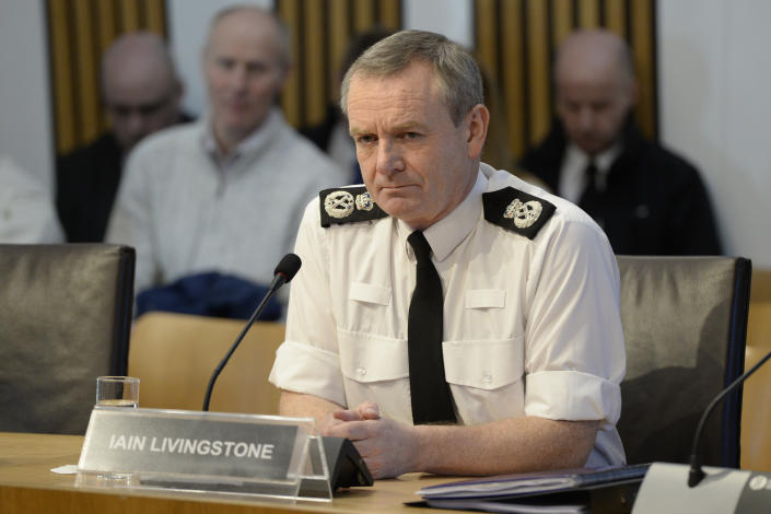 EDINBURGH, SCOTLAND - JANUARY 31: Chief Constable of Police Scotland, Iain Livingstone, gives evidence to the Scottish Parliament's Justice Sub-Committee on Policing, on January 31, 2019 in Edinburgh, Scotland. Mr Livingstone was questioned by the Sub-Committee on Police Scotland's priorities and draft budget for 2019-20. (Photo by Ken Jack/Getty Images)