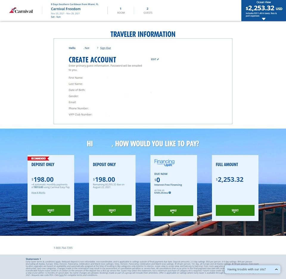 Travelers booking a cruise on Carnival's website are presented with four payment options, including financing the trip for up to two years through Uplift.