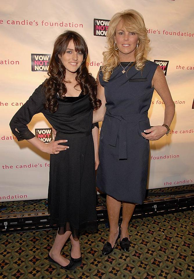 """Top Mom"" Dina Lohan and 14-year-old daughter Ali Lohan hit the red carpet with matching french manicures. Theo Wargo/<a href=""http://www.wireimage.com"" target=""new"">WireImage.com</a> - May 7, 2008"