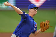 Chicago Cubs starting pitcher Alec Mills delivers during the first inning of a baseball game against the Pittsburgh Pirates in Pittsburgh, Tuesday, Sept. 28, 2021. (AP Photo/Gene J. Puskar)