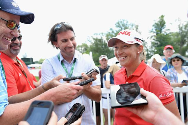 WATERLOO, CANADA - JULY 12: Angela Stanford speaks to the media at the end of her round finishing 12 under par for the tournament after round two of the Manulife Financial LPGA Classic at the Grey Silo Golf Course on July 12, 2013 in Waterloo, Canada. (Photo by Harry How/Getty Images)