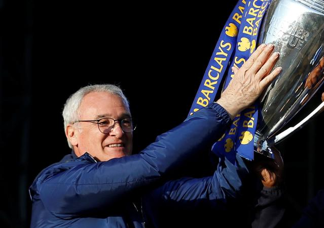 FILE PHOTO: Former Leicester City manager Claudio Ranieri with Premier League trophy in Leicester, Britain, 16/5/16 Action Images via Reuters / Carl Recine/File Photo