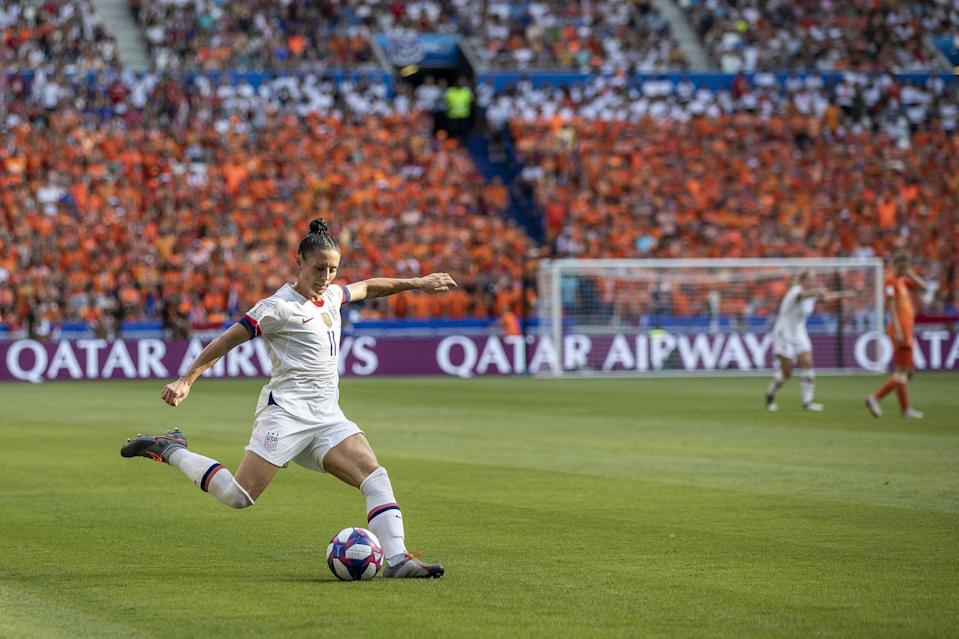 """<p>Ali Krieger is a defender on the USWNT and two-time World Cup winner, and plays professionally for the Orlando Pride. She married USWNT and Pride goalie Ashlyn Harris in December 2019 after being together for nine years.</p> <p>The pair didn't confirm they were in a relationship until announcing their engagement, a decision Krieger said <a href=""""https://weareher.com/exclusive-her-interview-ali-and-ashlyn-behind-the-scenes-of-the-royal-queer-wedding/"""" class=""""link rapid-noclick-resp"""" rel=""""nofollow noopener"""" target=""""_blank"""" data-ylk=""""slk:felt right"""">felt right</a>. """"Up until now, we were a bit hesitant, but that was more from a privacy perspective rather than a hiding perspective,"""" she told <strong>Her</strong> in January 2020. Their friends, family, and organizations knew the two were dating, but Krieger and Harris worried about the sponsorship consequences if they came out publicly. Eventually, she said, """"it was like f*ck it, and if they don't like us that's their prerogative and that's their loss. We just want to be our authentic selves, live our lives to the fullest and not feel that in this day and age we have to hide from being ourselves and being happy.""""</p>"""