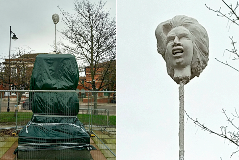 The statue of Margaret Thatcher's severed head on a spike is at the site where a bronze figure will stand in the former PM's home town. (SWNS)