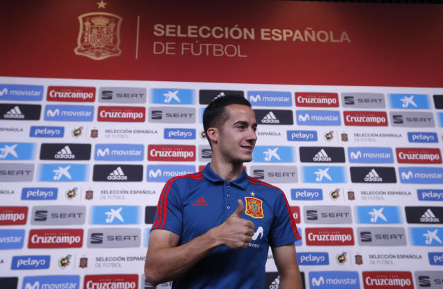 Spain's Lucas Vazquez gestures before a press conference of Spain at the 2018 soccer World Cup in Krasnodar, Russia, Saturday, June 23, 2018. (AP Photo/Manu Fernandez)