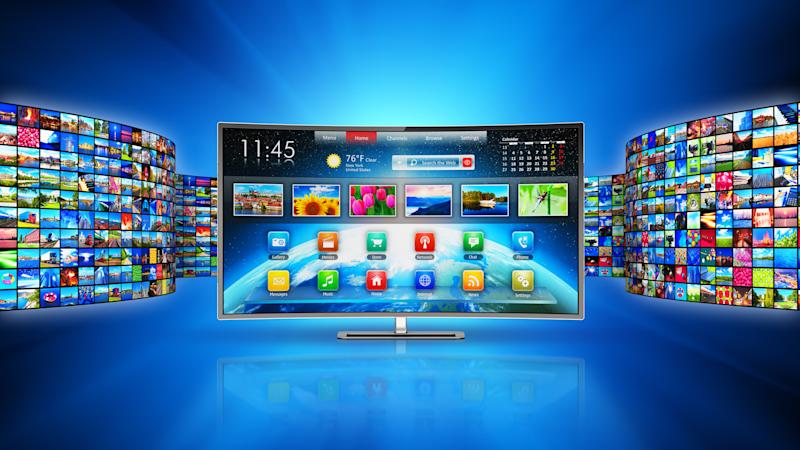 A connected TV with viewing options and apps.