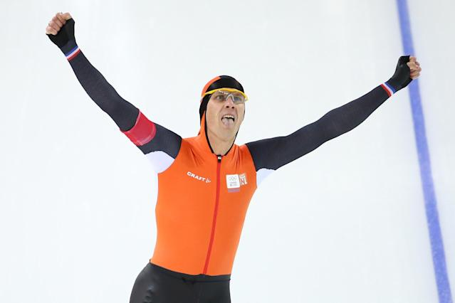 SOCHI, RUSSIA - FEBRUARY 12: Stefan Groothuis of the Netherlands celebrates after competing during the Men's 1000m Speed Skating event during day 5 of the Sochi 2014 Winter Olympics at at Adler Arena Skating Center on February 12, 2014 in Sochi, Russia. (Photo by Streeter Lecka/Getty Images)