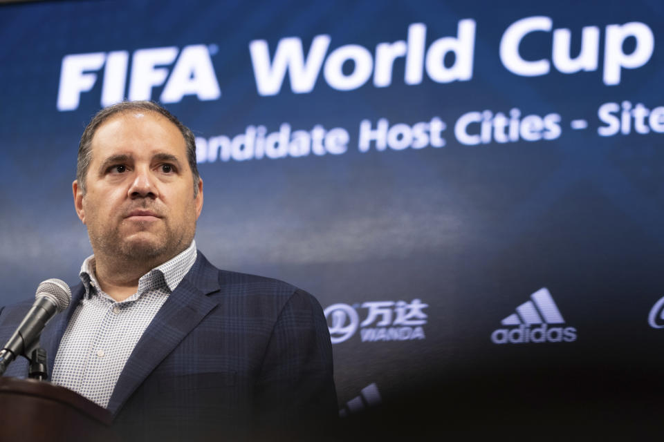Victor Montagliani, FIFA vice-president and CONCACAF president, takes a question during a press conference Friday afternoon, Sept. 17, 2021 at Mercedes-Benz Stadium in Atlanta. Officials were touring the stadium as part of the FIFA World Cup 2026 Candidate Host City Tour. (AP Photo/Ben Gray)