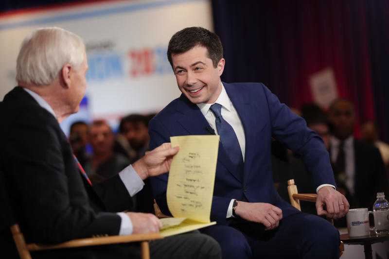 Democratic presidential candidate, former South Bend Mayor Pete Buttigieg is intervened in the spin room after a Democratic presidential primary debate Wednesday, Feb. 19, 2020, in Las Vegas, hosted by NBC News and MSNBC. (AP Photo/Matt York)