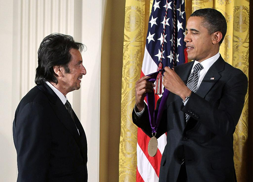 """<p class=""""MsoNormal""""><span style=""""font-size:10.0pt;"""">Al Pacino got to hang at the White House on Monday when he received a National Medal of Arts from President Obama for his contributions to American film and theater. """"Mr. Pacino is an enduring and iconic figure, who came of age in one of the most exciting decades of American cinema, the 1970s,"""" the president said about Pacino, who's starred in legendary films like """"The Godfather"""" and """"Scarface."""" (2/13/2012)</span></p>"""