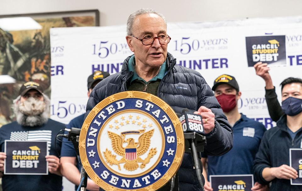 Senate Majority Leader Chuck Schumer (D-N.Y.) speaks at a news conference at Hunter College in New York City on federal proposals to cancel student debt. (Photo: Lev Radin/Pacific Press/LightRocket via Getty Images)