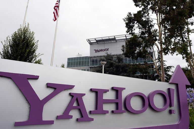 The Yahoo! logo is pictured outside the company's headquarters in California on July 17, 2012