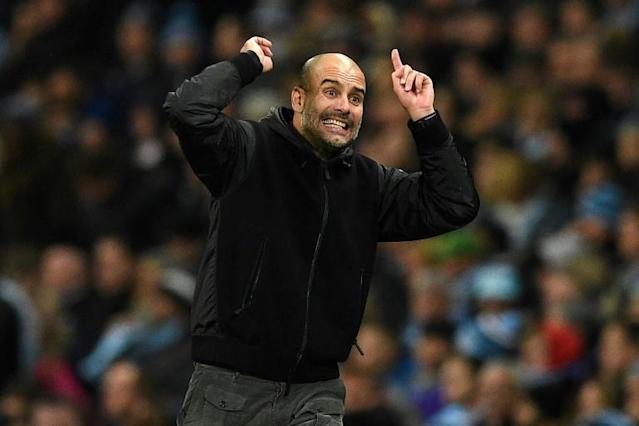 Pep Guardiola gestures on the touchline during Manchester City's Premier League match against Chelsea (AFP Photo/Oli SCARFF )