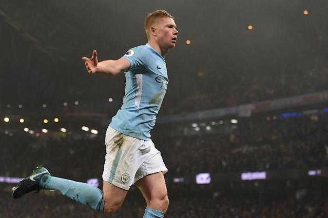 Manchester City's Kevin De Bruyne scored their second goal and had a hand in a third in an emphatic 4-1 victory over Tottenham Hotspur (AFP Photo/PAUL ELLIS )