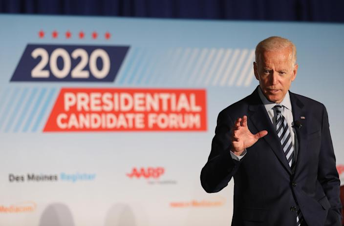 Former U.S. Vice President Joe Biden speaks during the AARP and The Des Moines Register Iowa Presidential Candidate Forum last July in Des Moines. (Photo by Justin Sullivan/Getty Images)