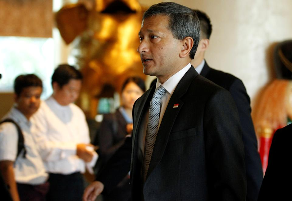 Singapore Foreign Minister Vivian Balakrishnan arrives to attend ASEAN Foreign Minister Meeting for Rohingya issue in Sedona hotel at Yangon, Myanmar December 19, 2016. REUTERS/Soe Zeya Tun