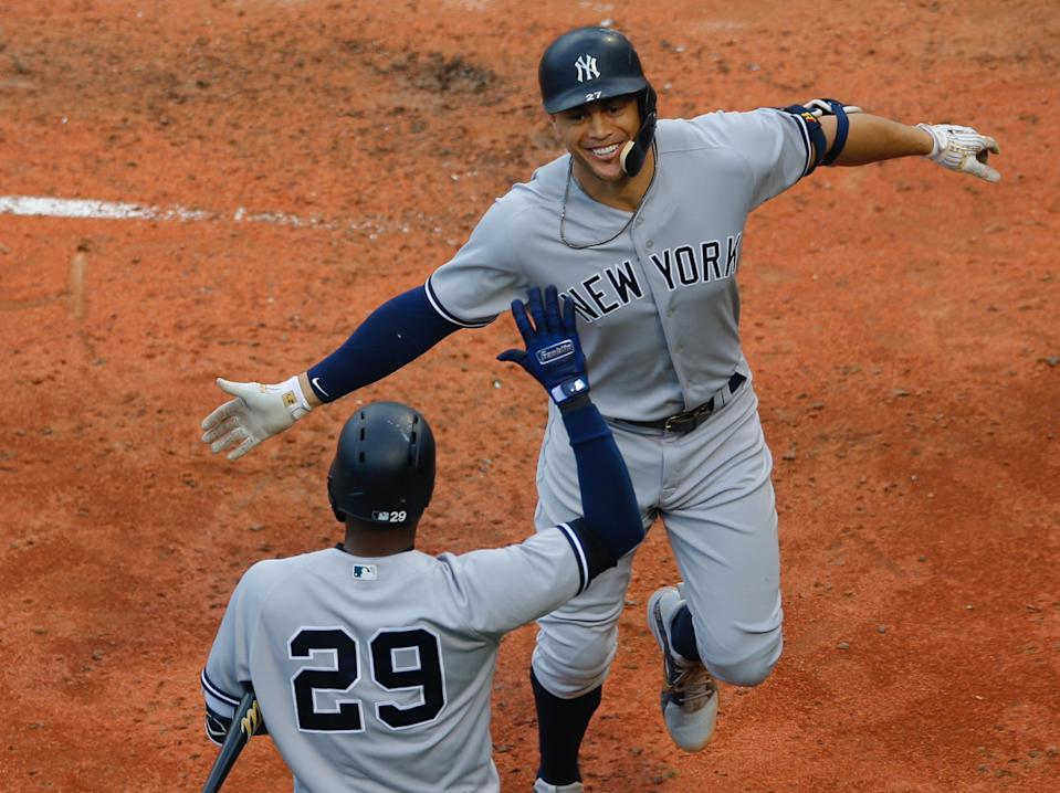 Giancarlo Stanton can erase an up-and-down first year with the Yankees with a stellar postseason. (EFE/EPA/CJ GUNTHER)