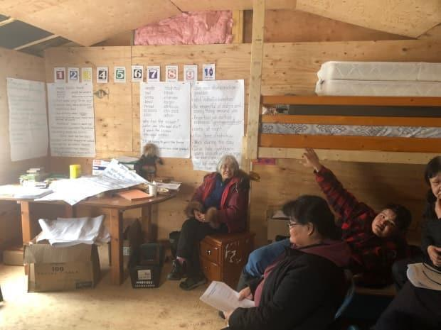 Gwich'in language immersion camp at Midway Lake. The Tetlit Gwich'in Council is putting on the camp. (William Firth/CBC - image credit)