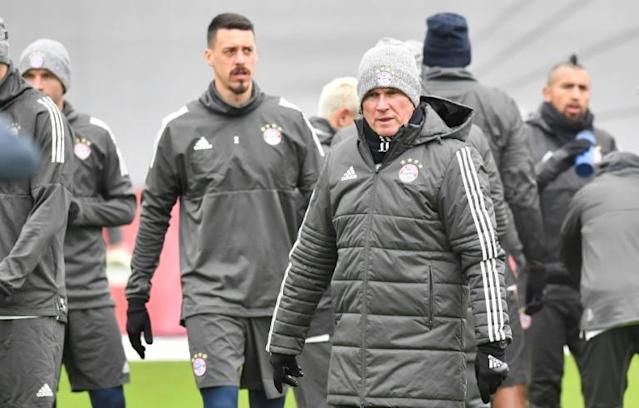 Bayern Munich's head coach Jupp Heynckes oversees a training session in Munich, southern Germany, on February 19, 2018