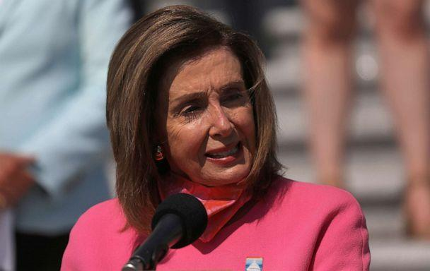 PHOTO: Speaker of the House Nancy Pelosi holds a news conference on the steps of the Capitol Building, June 30, 2020 in Washington. (Leah Millis/Reuters)