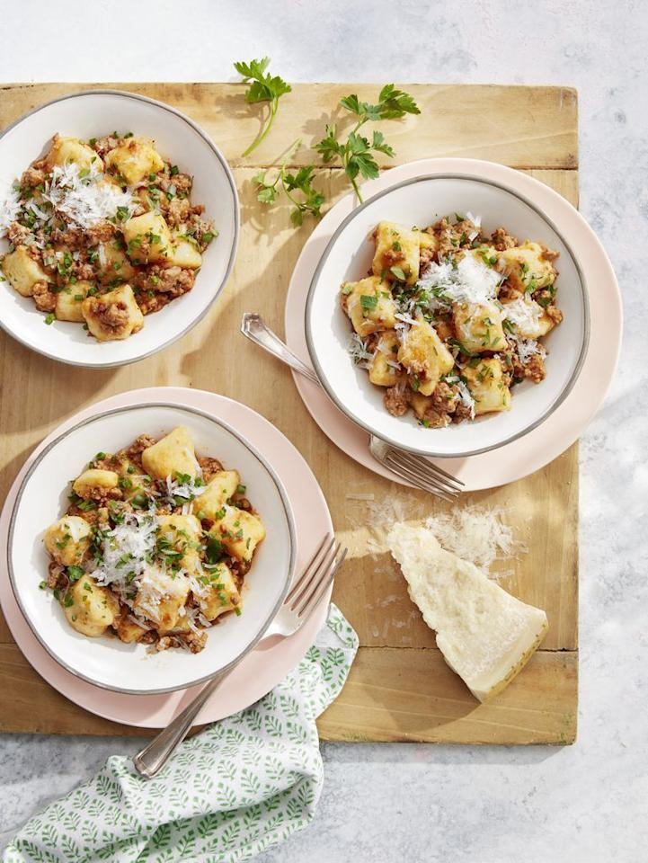 """<p>Gnocchi is an Italian pasta made of cooked mashed potatoes, flour, and eggs. These soft, doughy dumplings are typically served with a savory white or red sauce. </p><p><strong>Try it in <a href=""""https://www.countryliving.com/food-drinks/a26783254/potato-gnocchi-pork-ragu-recipe/"""">Potato Gnocchi with Pork Ragù</a>.</strong></p>"""