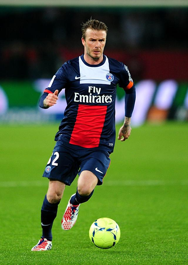 Paris Saint-Germian's David Beckham in action