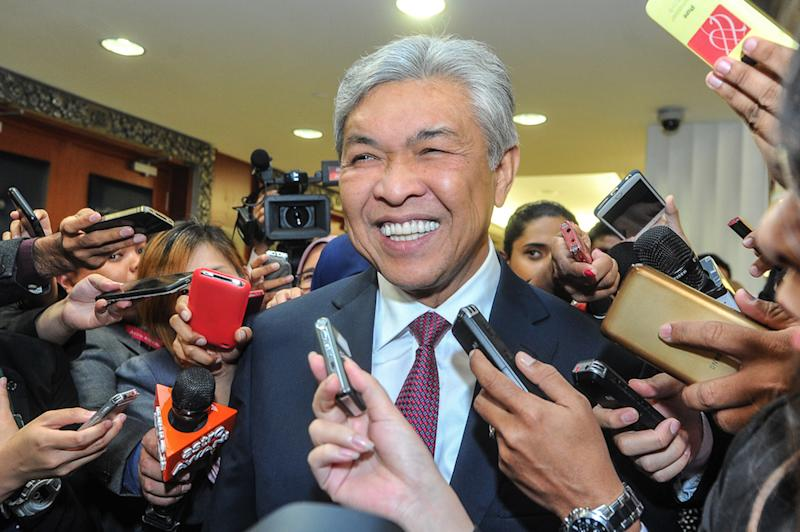 Opposition leader Datuk Seri Ahmad Zahid Hamidi speaks to the media in Parliament July 18, 2018. — Picture by Shafwan Zaidon