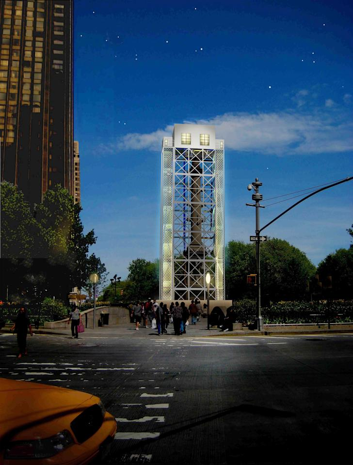 In this undated artist rendering released by the Public Art Fund in New York, scaffolding surrounds the exterior of the statue of Christopher Columbus on New York Cityís Columbus Circle. At the top of the scaffolding Japanese artist Tatzu Nishi will build a contemporary living room around the 13 foot statue of Christopher Columbus. The installation will be in place from Sept. 20 to Nov. 18, 2012 and will be entitled ìDiscovering Columbusî (AP Photo/Tatzu Nishi)