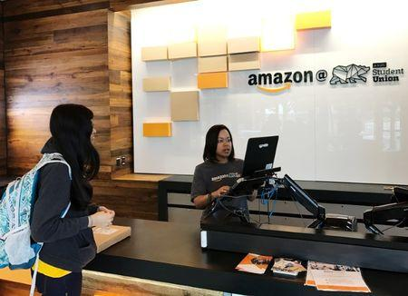 FILE PHOTO: An Amazon pickup location is seen at the University of California in Berkeley