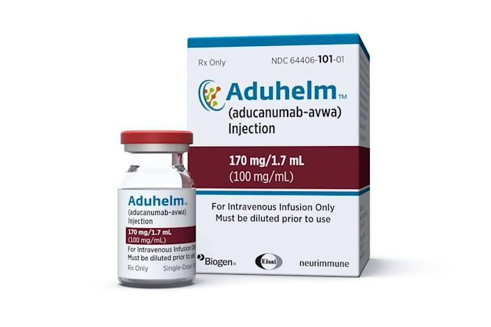 This image provided by Biogen shows a vial and packaging for the drug Aduhelm. On Monday, June 7, 2021, the Food and Drug Administrationapproved Aduhelm, the first new medication for Alzheimer's disease in nearly 20 years, disregarding warnings from independent advisers that the much-debated treatment hasn't been shown to help slow the brain-destroying disease.