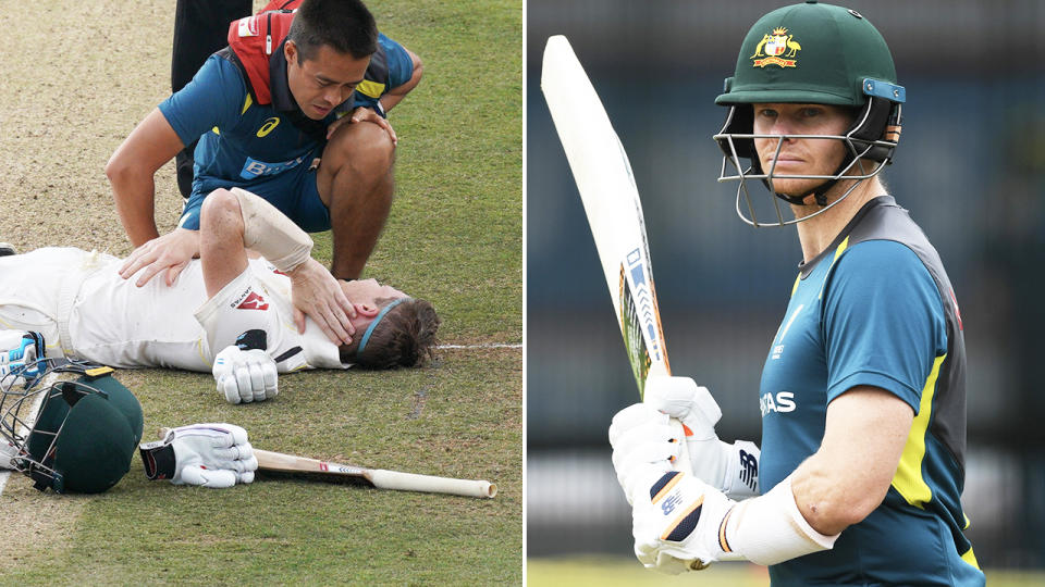 Steve Smith, pictured here during the 2019 Ashes series, and before the first ODI against England in 2020.