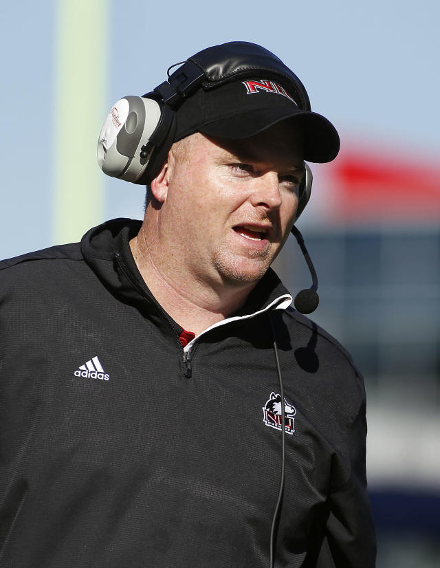 Northern Illinois head coach Rod Carey watches from the sideline during the first half of an NCAA football game against Massachusetts in Foxborough, Mass., Saturday, Nov. 2, 2013. (AP Photo/Stew Milne)